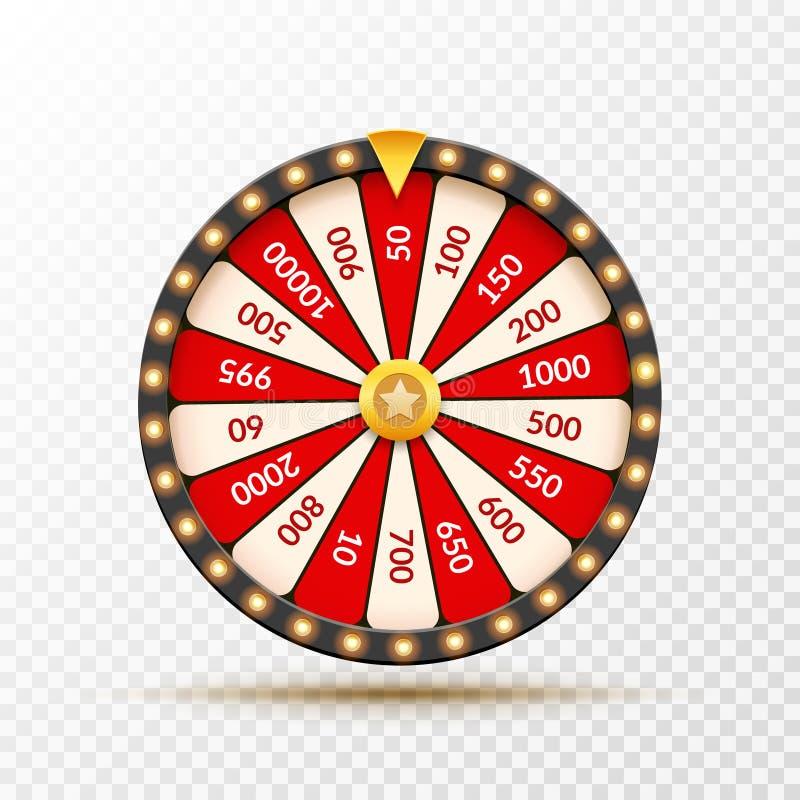 Rueda del ejemplo de la suerte de la lotería de la fortuna Juego del casino de azar Ruleta de la fortuna del triunfo Ocio de la o libre illustration