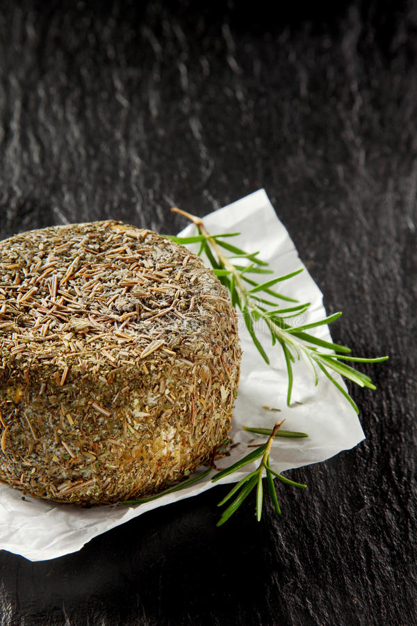 Rueda del queso suave cubierta en hierbas y especias imágenes de archivo libres de regalías