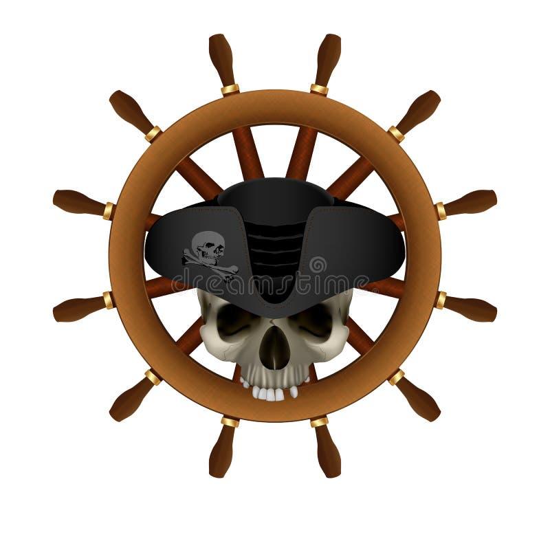 Rueda del ` s de la nave de Jolly Roger Pirate ilustración del vector