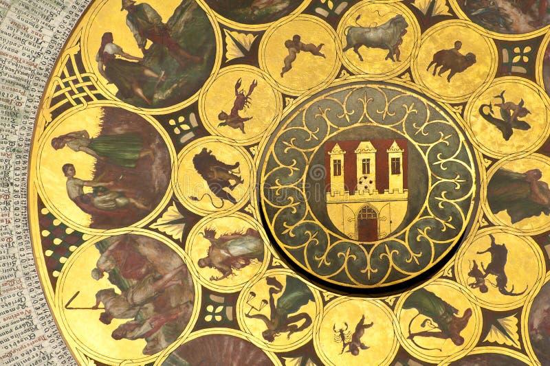 Rueda del zodiaco en Praga imágenes de archivo libres de regalías