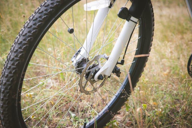 Rueda delantera de la bici del deporte con el disco hidr?ulico en el fondo gris imágenes de archivo libres de regalías