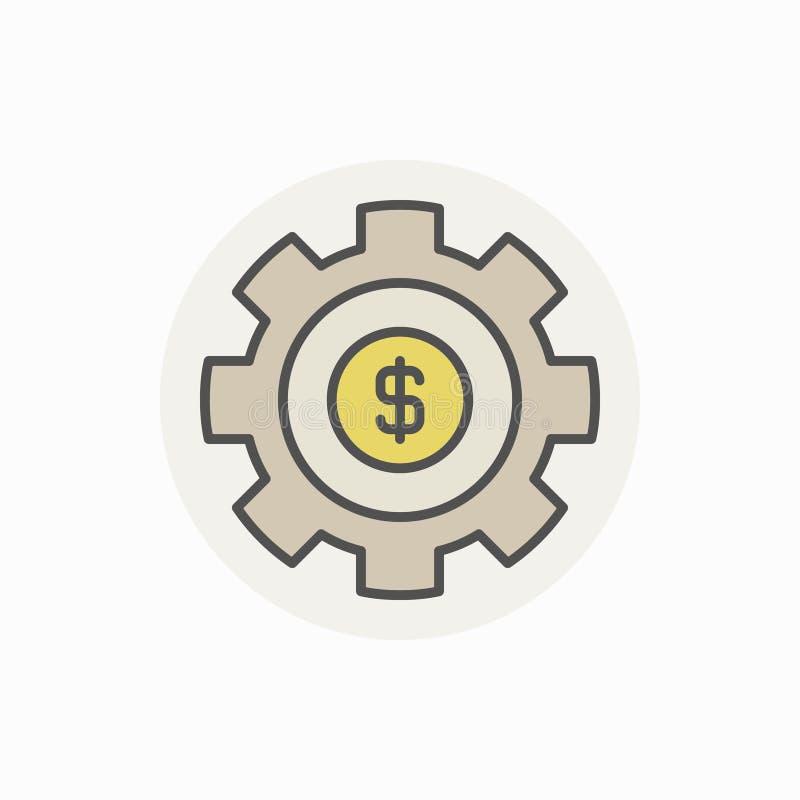 Rueda dentada con el icono colorido del dólar stock de ilustración