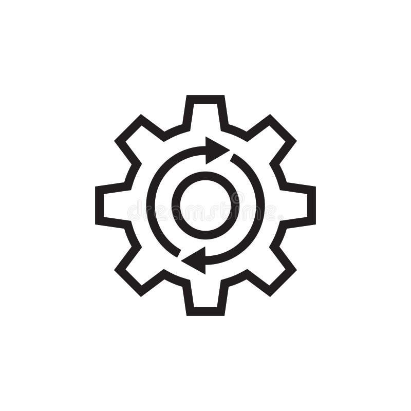 Rueda dentada con las flechas - icono negro del engranaje del vector en el fondo blanco para la página web, aplicación móvil, pre stock de ilustración