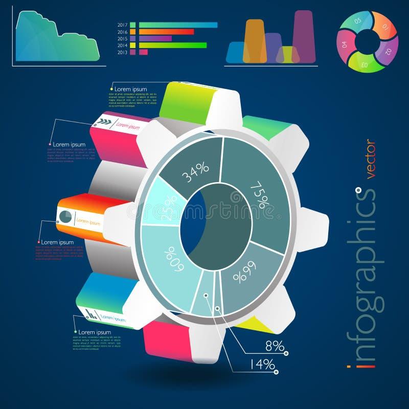 Rueda dentada de Infographic ilustración del vector