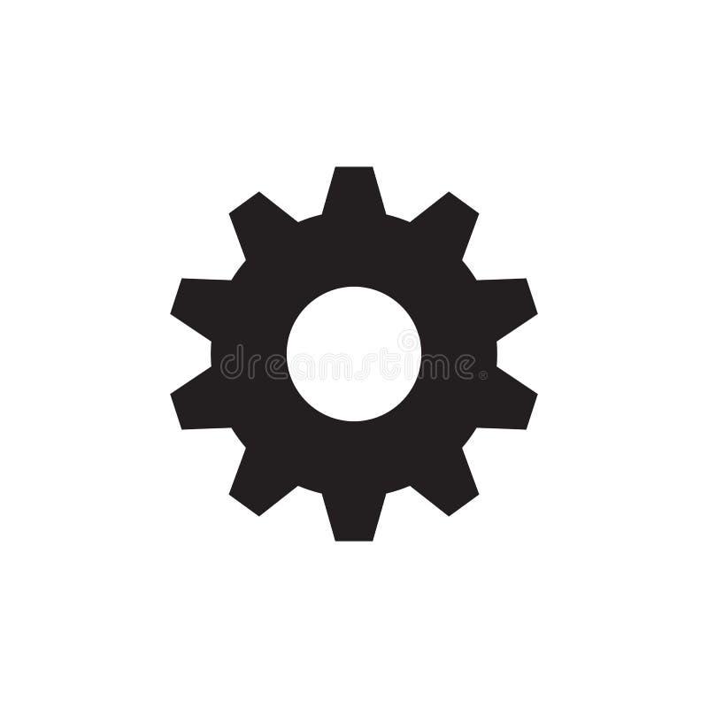 Rueda dentada del engranaje - icono negro en el ejemplo blanco del vector del fondo para la página web, aplicación móvil, present libre illustration