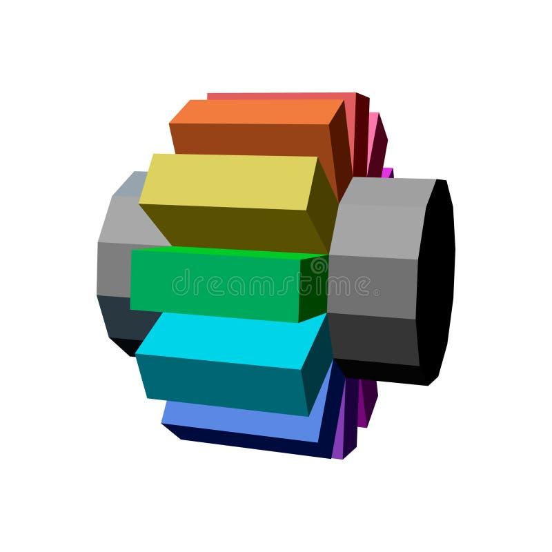 Rueda dentada geométrica abstracta 3d stock de ilustración