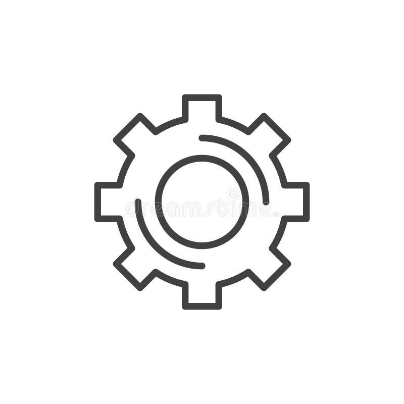Rueda dentada, línea icono, muestra del engranaje del vector del esquema ilustración del vector