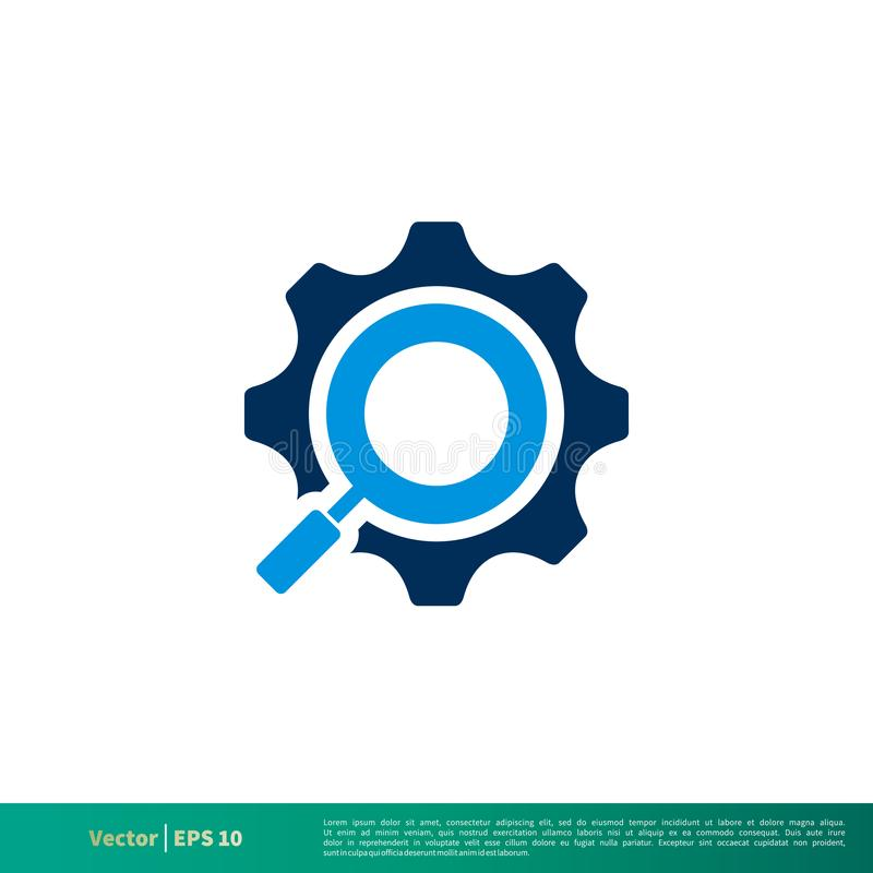 Rueda dentada, vector Logo Template Illustration Design del icono de la lupa del engranaje Vector EPS 10 libre illustration