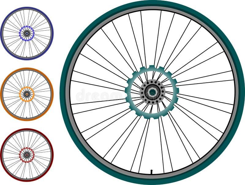 Rueda determinada de la bici aislada en el fondo blanco stock de ilustración