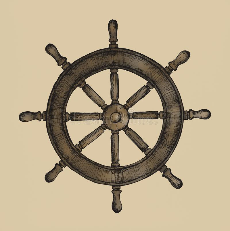 Rueda dibujada mano de la nave aislada libre illustration