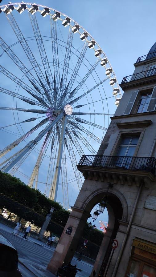 Rueda grande de París Tuileries por noche foto de archivo
