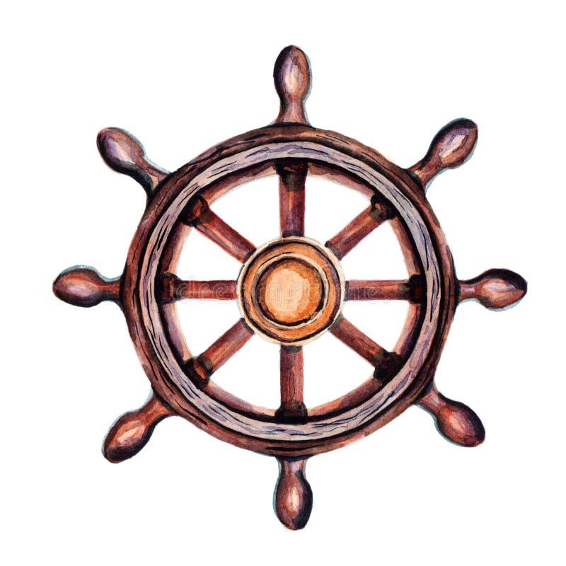 Rueda vieja del ` s de la nave del vintage Temas marinos para la decoración de su diseño stock de ilustración