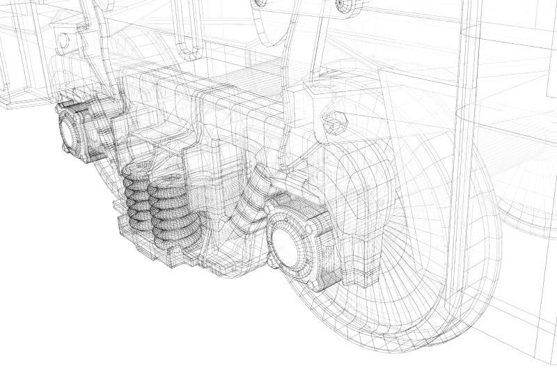 Ruedas de carro, camión ferroviario ilustración del vector