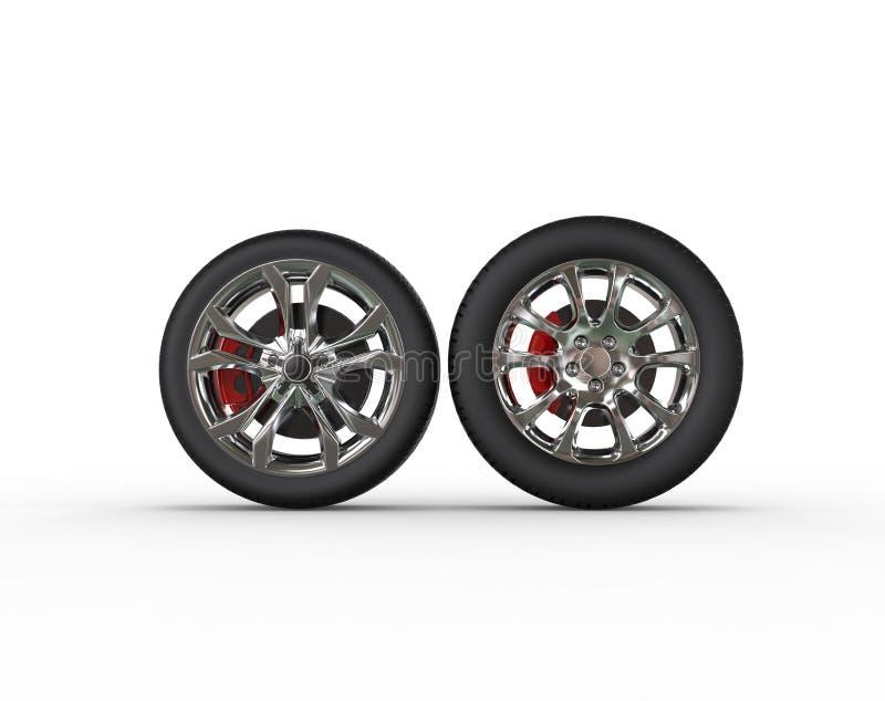 Ruedas de coche - diversos bordes ilustración del vector