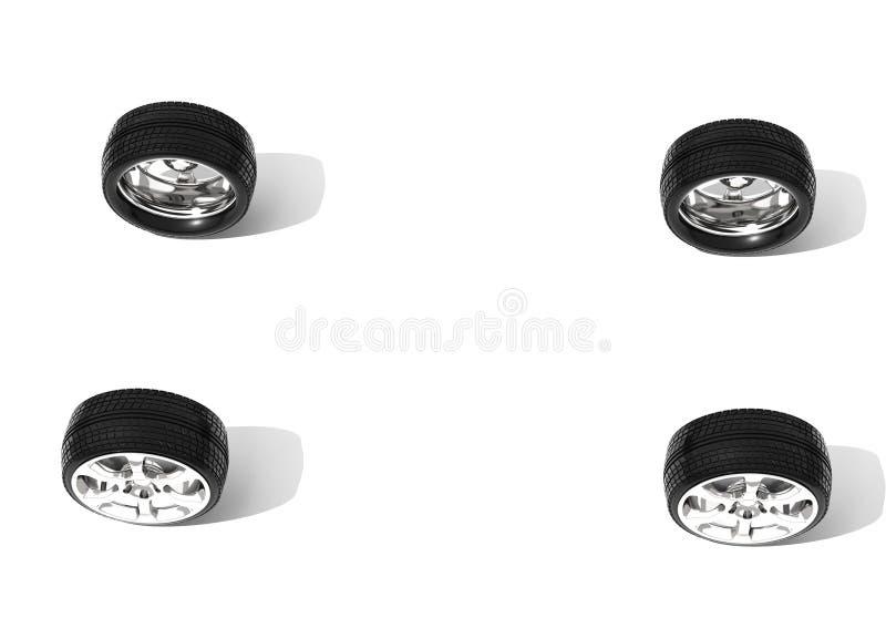 Ruedas de coche en el fondo blanco imagenes de archivo