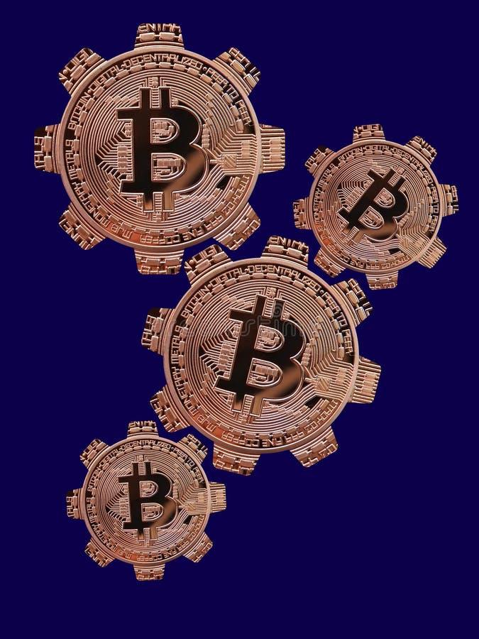 Ruedas de engranaje de Bitcoin stock de ilustración