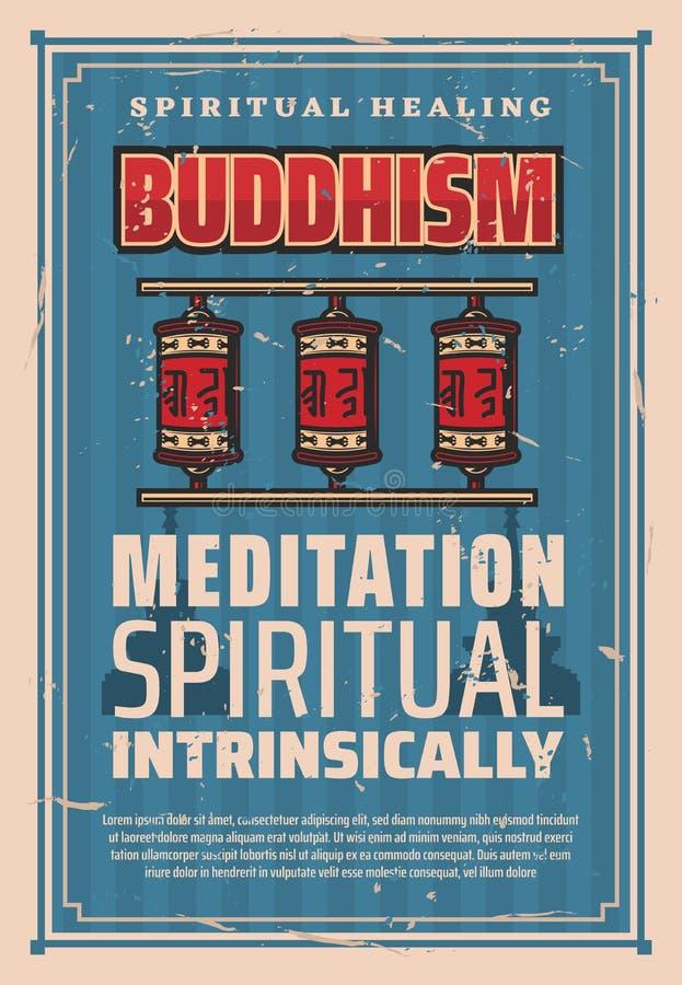 Ruedas de rezo de la religión del budismo, vector ilustración del vector