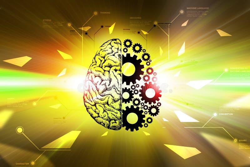 Ruedas del cerebro y de engranaje stock de ilustración