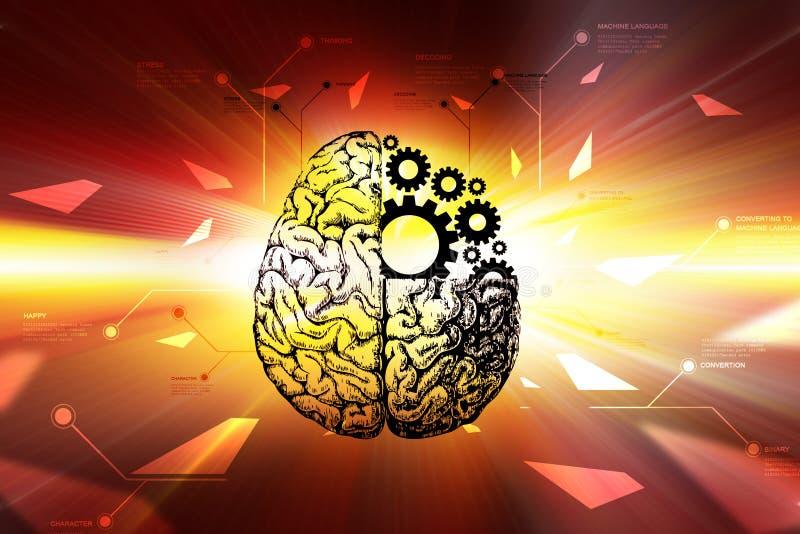 Ruedas del cerebro y de engranaje ilustración del vector