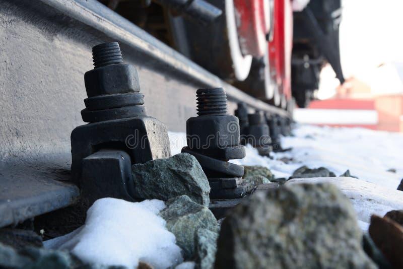 Ruedas del locomote en los carriles fotografía de archivo libre de regalías