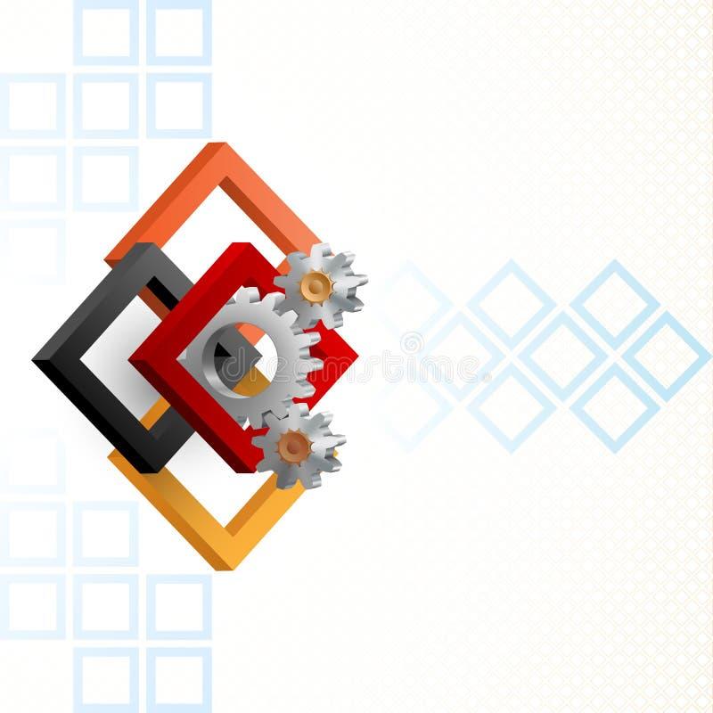 Ruedas dentadas enmarcadas por tres cuadrados de las dimensiones stock de ilustración