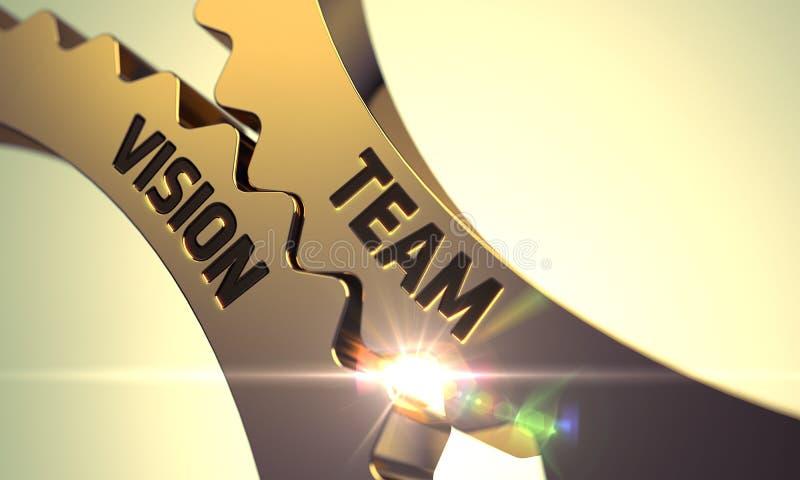Ruedas dentadas metálicas de oro con Team Vision Concept 3d fotos de archivo