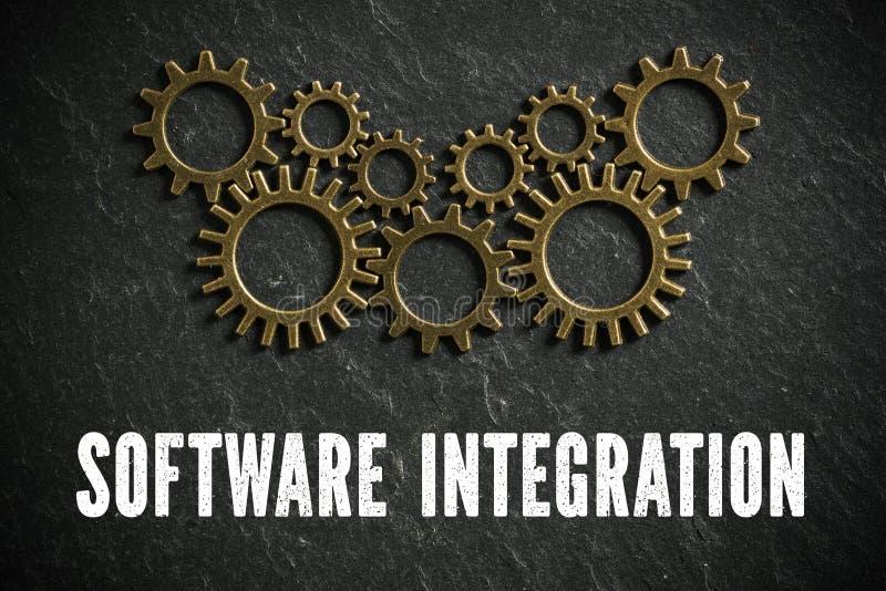 Ruedas dentadas y el ` de la integración de software del ` de las palabras que simboliza un sistema complejo que trabaja junto fotografía de archivo libre de regalías