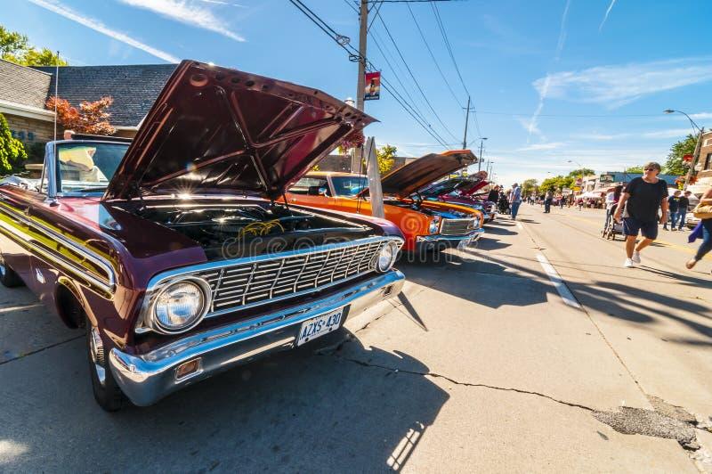 Ruedas en la demostración de coche clásica de Wyandoote fotos de archivo
