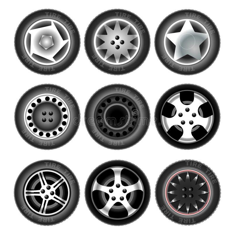 Ruedas y neumáticos del vehículo stock de ilustración