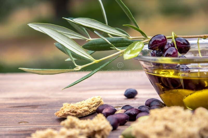 Ruede con el aceite de oliva virginal adicional, aceitunas, una rama fresca del olivo y los dakos del bizcocho tostado del cretan foto de archivo
