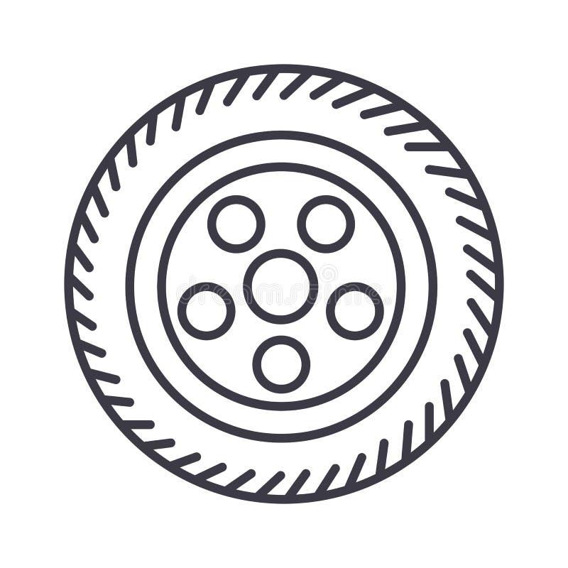 Ruede la línea icono, muestra, ejemplo del vector del coche en el fondo, movimientos editable stock de ilustración