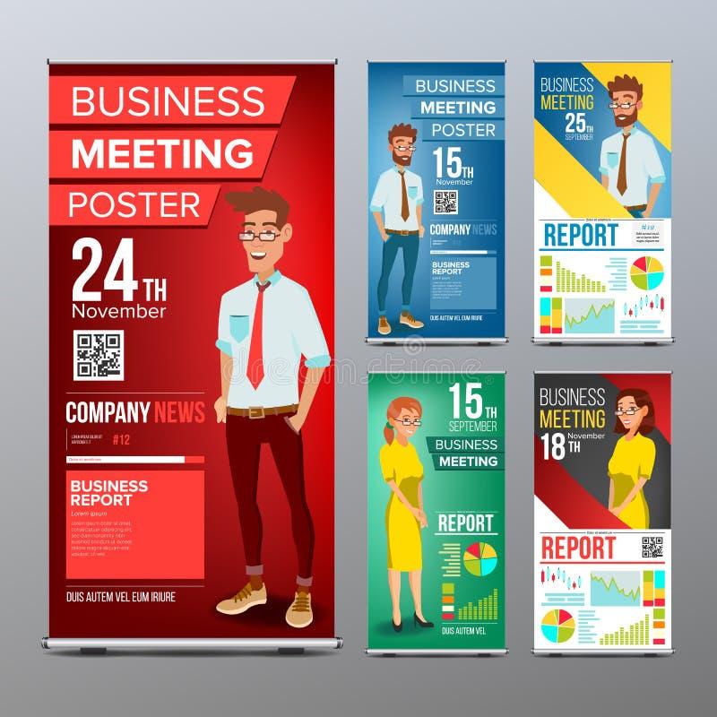 Ruede para arriba el vector del sistema de exhibición Disposición vertical de la plantilla del cartel Hombre de negocios y mujer  libre illustration