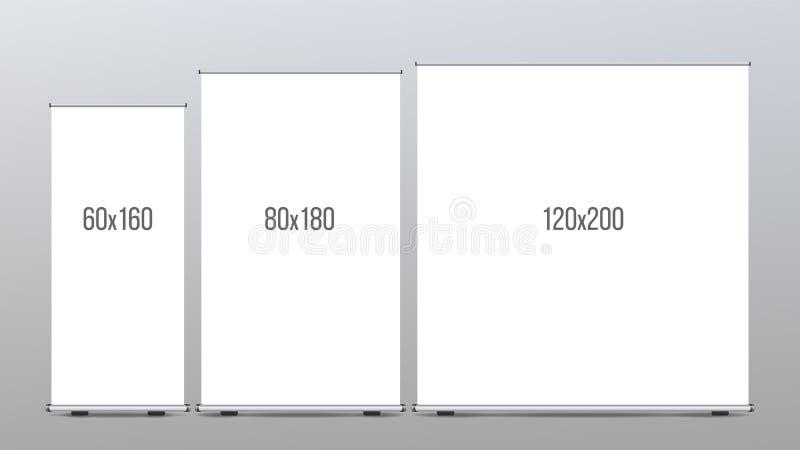 Ruede para arriba el vector determinado del soporte de la bandera Cartelera vertical Cartel para el foro Vacie ascendente falso E stock de ilustración