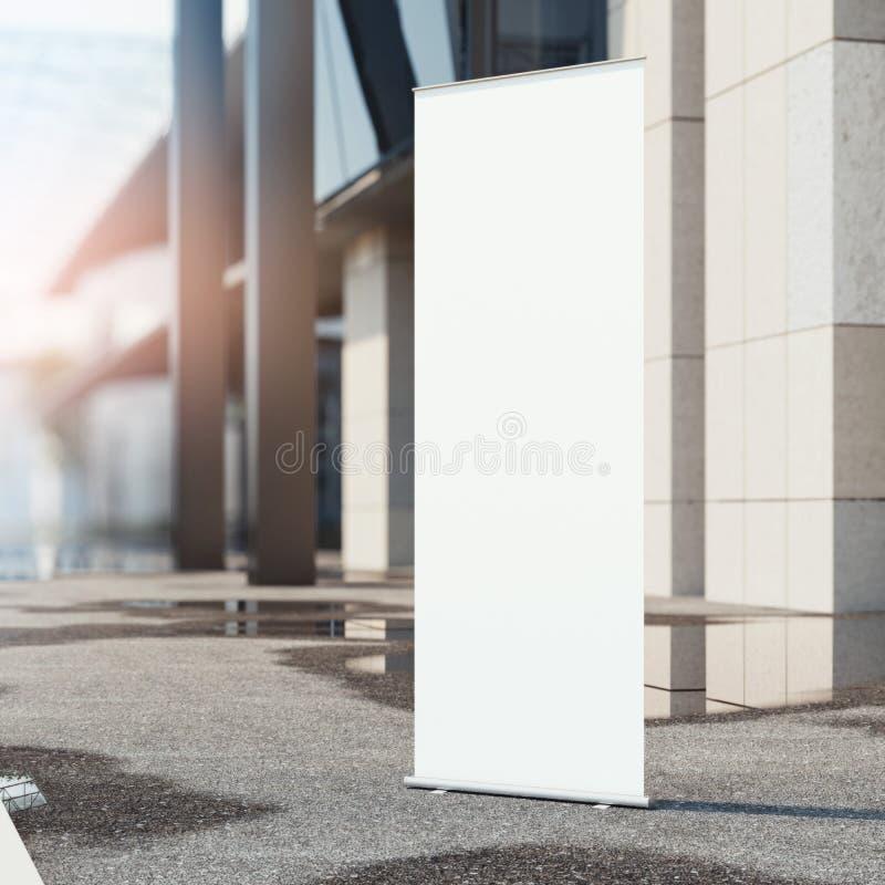 Ruede para arriba la bandera cerca de oficina moderna representación 3d ilustración del vector