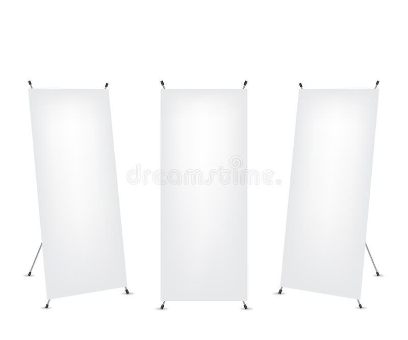 Ruede para arriba la bandera del x-soporte stock de ilustración