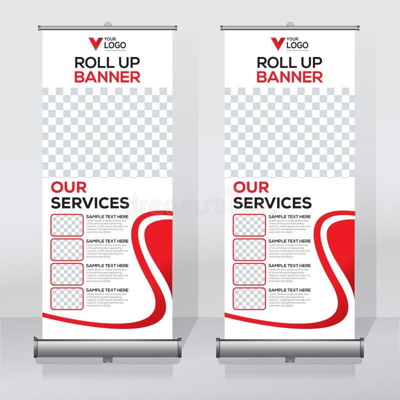 Ruede para arriba la plantilla del diseño de la bandera, vertical, resuma el fondo, levante el diseño, x-bandera moderna, tamaño  ilustración del vector