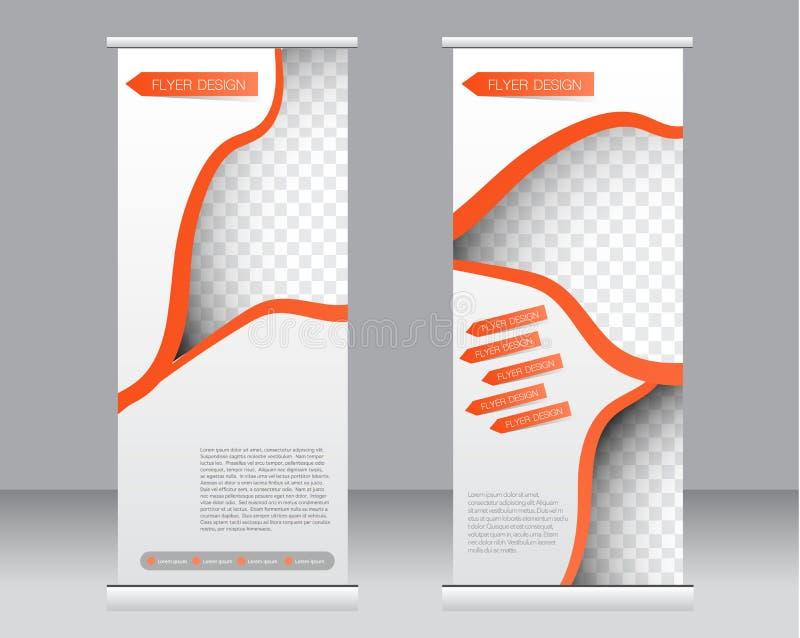 Ruede para arriba la plantilla del soporte de la bandera Fondo abstracto para el diseño, negocio, educación, anuncio stock de ilustración