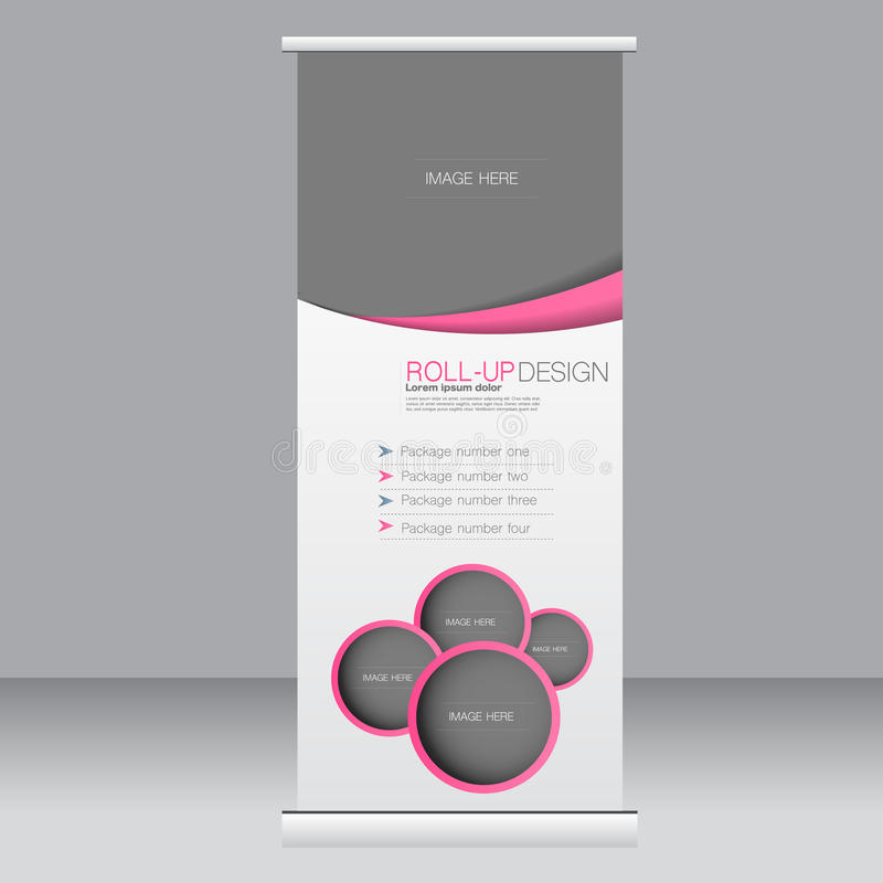 Ruede para arriba la plantilla del soporte de la bandera Fondo abstracto para el diseño, negocio, educación, anuncio Color rosado stock de ilustración