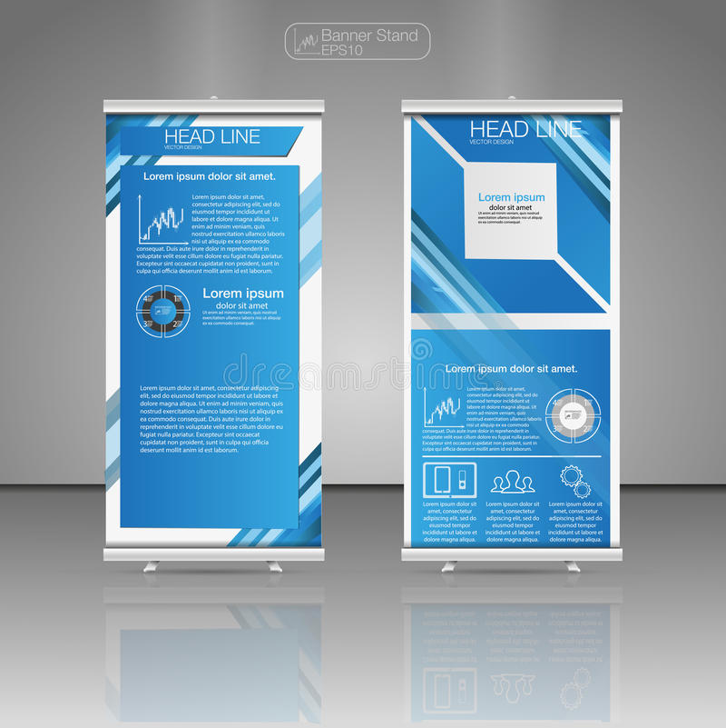 Ruede para arriba los gráficos del soporte, de la plantilla y de la información de la bandera, diseño del soporte de la bandera V libre illustration