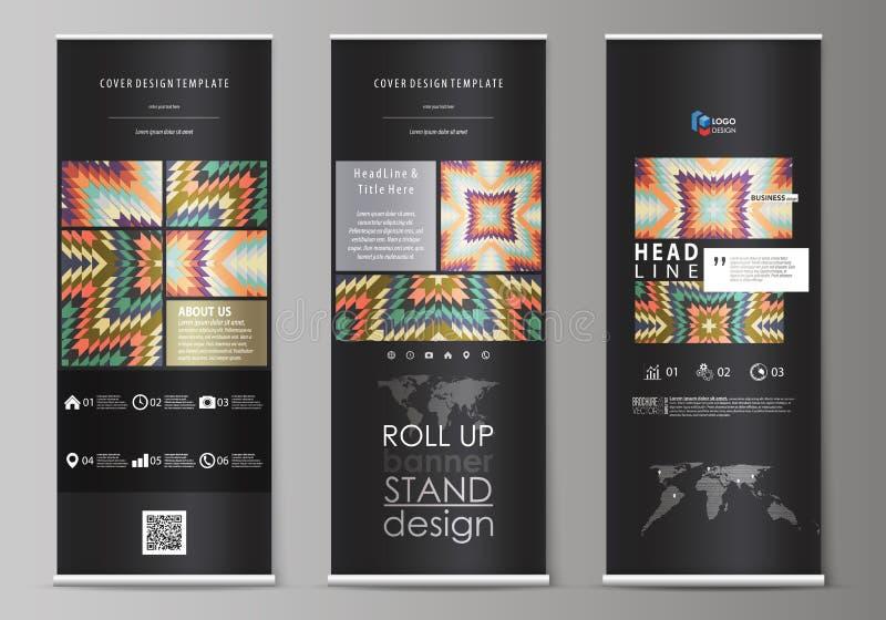 Ruede para arriba los soportes de la bandera, plantillas geométricas del estilo del diseño del extracto, aviadores verticales cor libre illustration