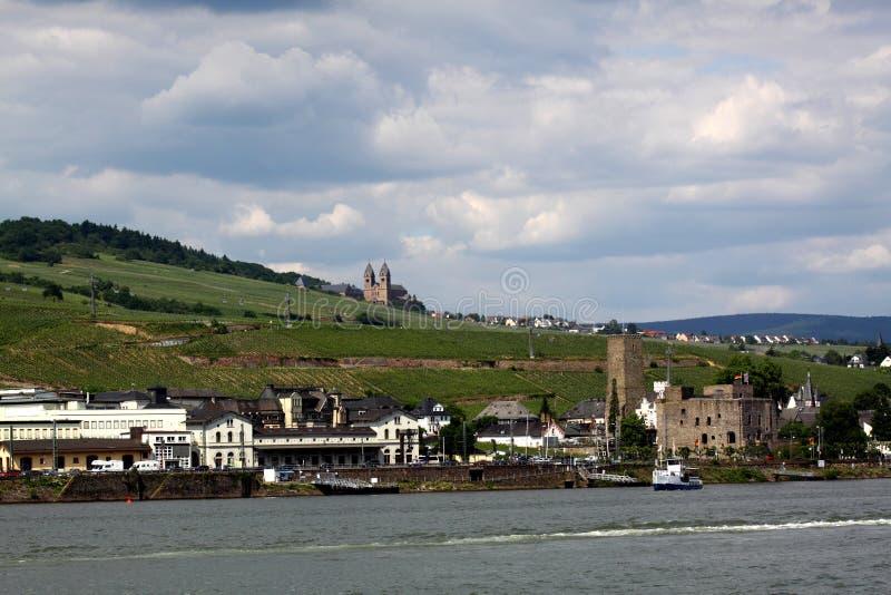 Ruedesheim e Rhine fotos de stock