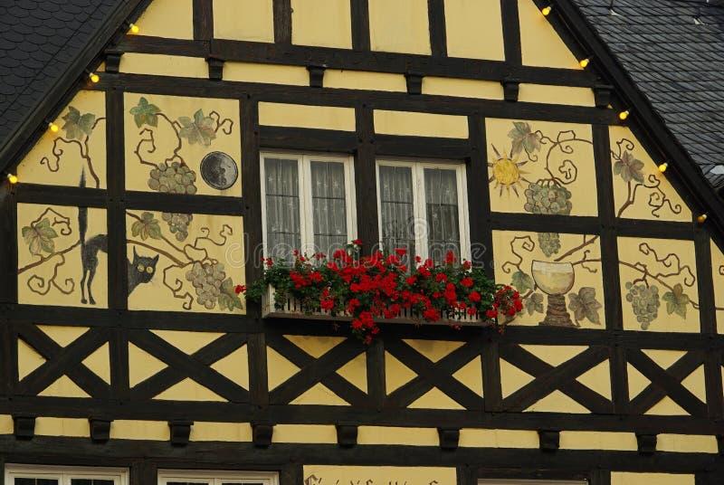 Ruedesheim half-timber hus royaltyfri fotografi