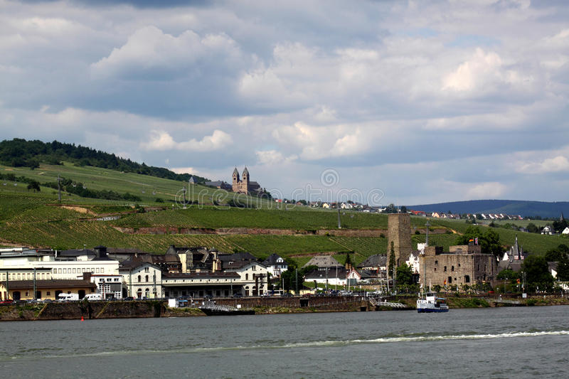 Download Ruedesheim and Rhine stock image. Image of golden, landscape - 25055533
