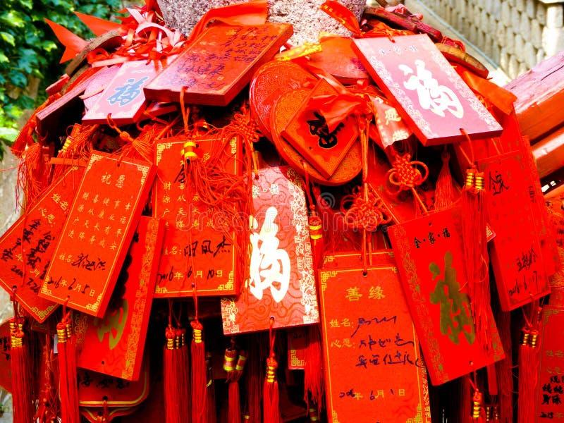 Ruegue los tableros de templo de Huayan fotografía de archivo