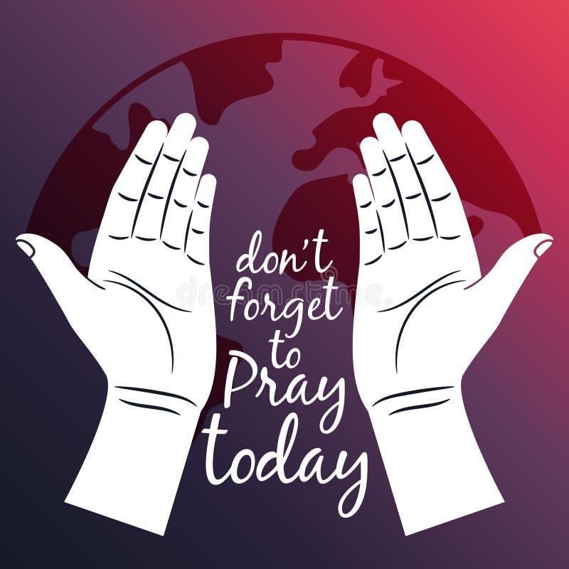 Ruegue para el cartel del mundo con las manos abiertas stock de ilustración