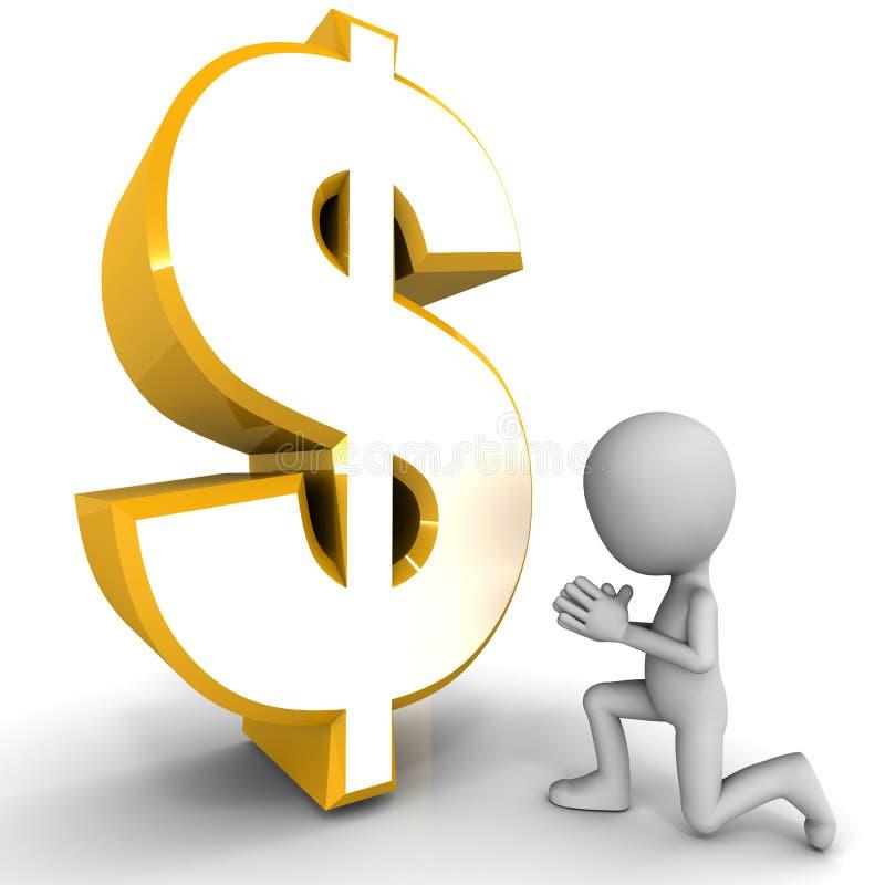 Ruegue para el dinero stock de ilustración