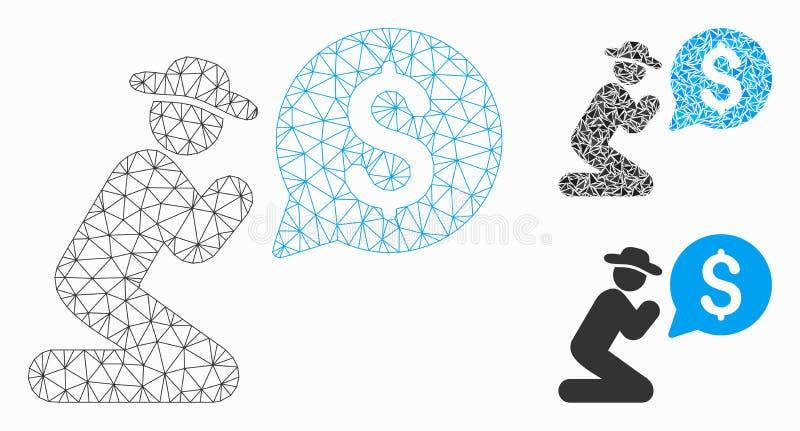 Ruegue para el vector Mesh Wire Frame Model del dinero y el icono del mosaico del triángulo libre illustration