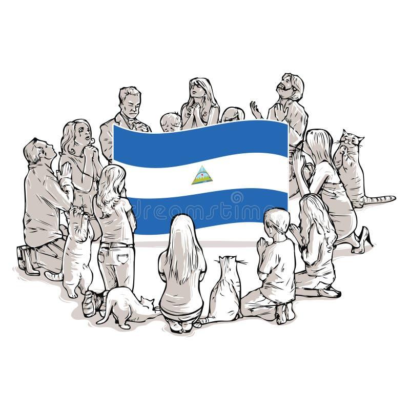 Ruegue para Nicaragua ilustración del vector
