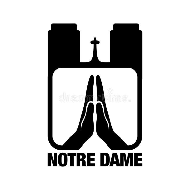 Ruegue para Notre Dame - catedral en París central fotos de archivo