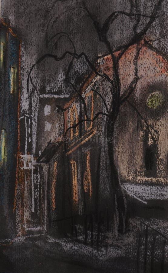 Ruelle à Moscou la nuit illustration stock